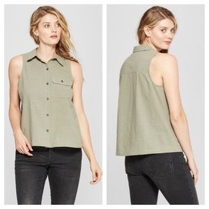 ➕ Universal Thread Sleeveless Button Down Shirt